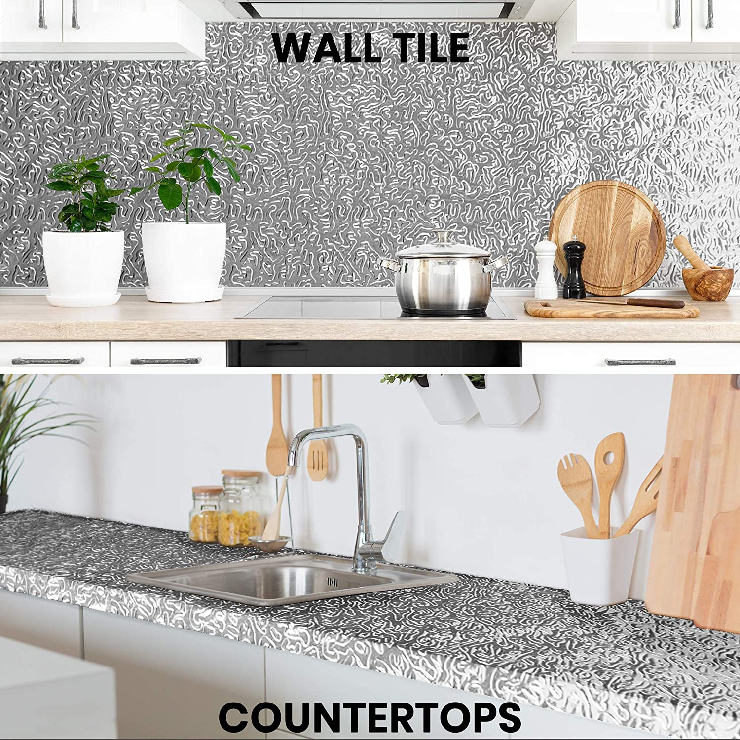 self adhesive aluminum foil sticker for kitchen cabinet wallpaper oil proof waterproof wall protector with heat resistant stove cabinet stickers