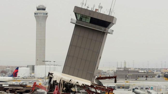 84 Foot Delta Tower Demolished At Salt Lake City International Airport Kjzz