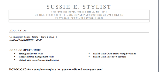 Salon Resume Skills. Graphic Design Resume Success. Hair Stylist