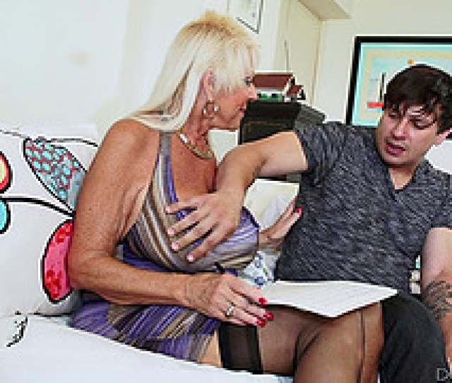 Blonde Granny In Stockings Breaks A Sweat On A Younger Studs Cock Hardcore