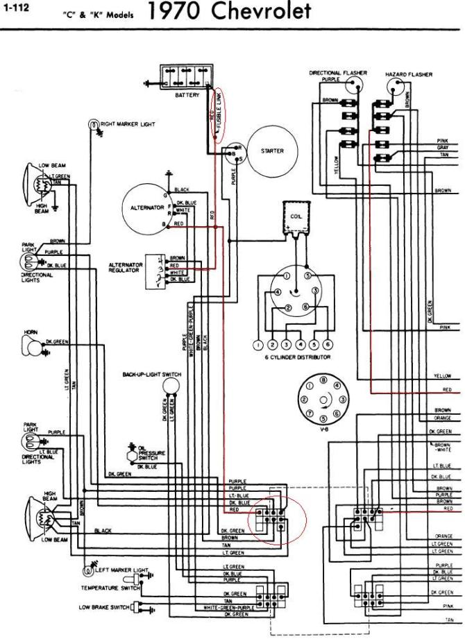 1970 chevrolet c10 wiring diagram of the fuse box  1976