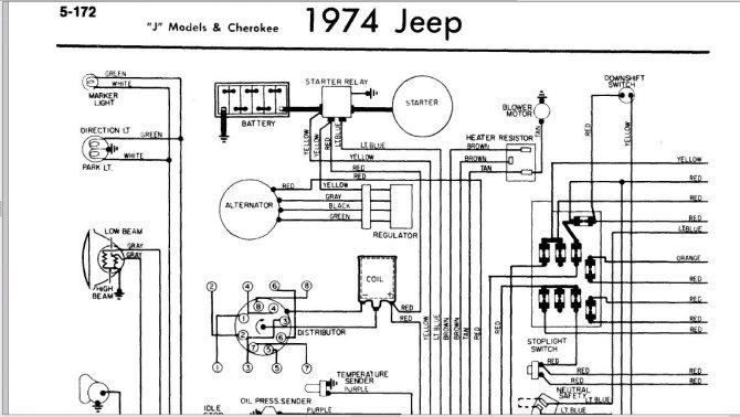 1974 jeep cj5 alternator wiring diagram  center wiring