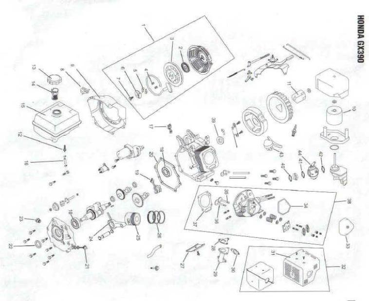 Honda Gx390 Engine Parts With Diagram
