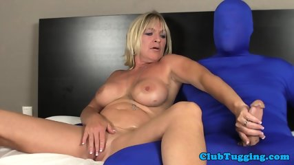 Busty Mature Tugging Dick Of A Man In Spandex