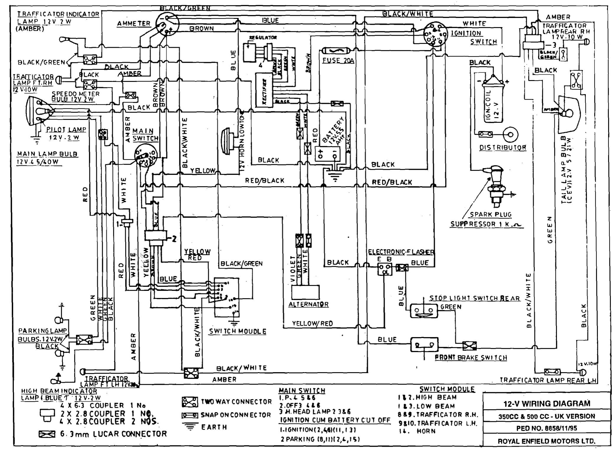 Royal Enfield Thunderbird 350 Wiring Diagram