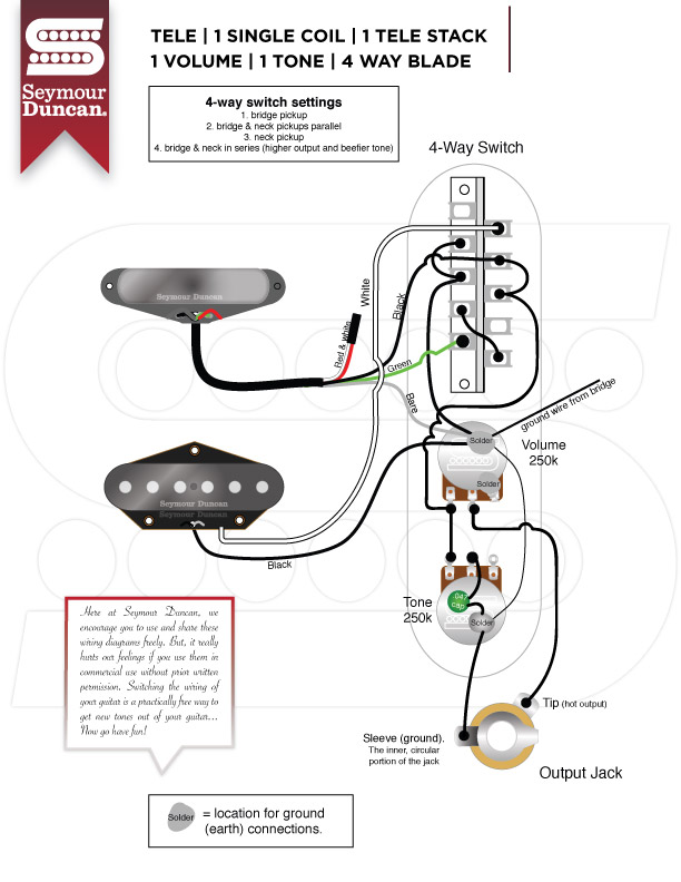 seymour duncan tele hot rails neck wiring diagram  ford 351