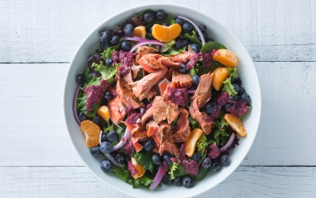 Plated Salmon Salad with Blueberry Viniagrette