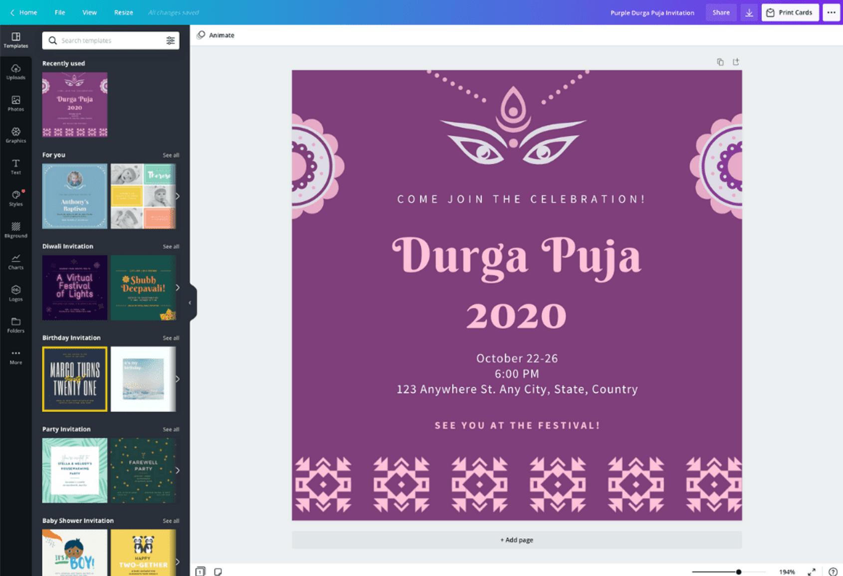 puja invitation card online