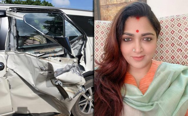 Khushbu Sundar Escapes Unhurt After Meetings With Accident On Her Way To Attend 'Vel Yatra'