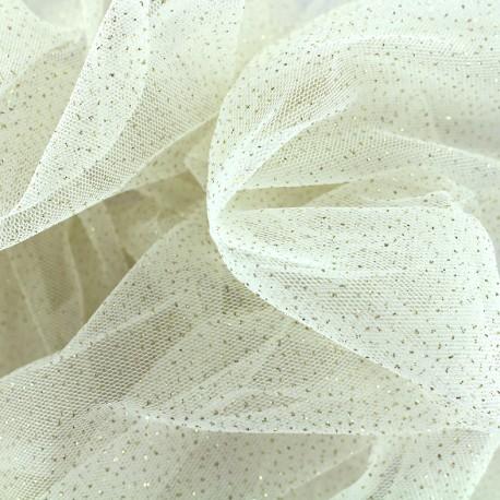 tissu tulle paillete fairytale ivoire x10cm
