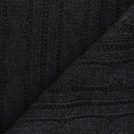 tissu maille tricot torsades gris anthracite x 10cm
