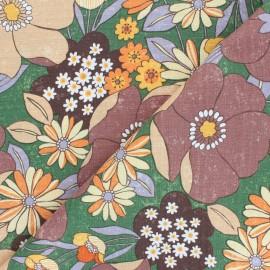 tissu toile de coton kokka sopo retro jambo marron x 10 cm