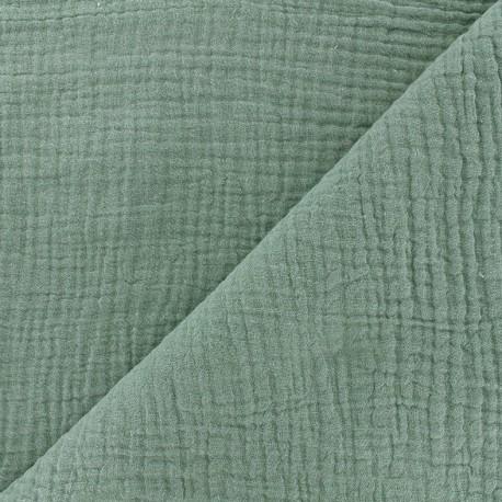 tissu double gaze de coton mpm oeko tex sarcelle celadon x 10cm