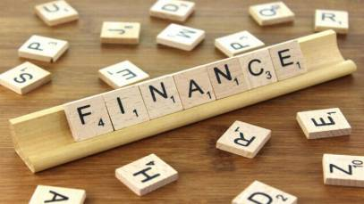 the word finance in block letters