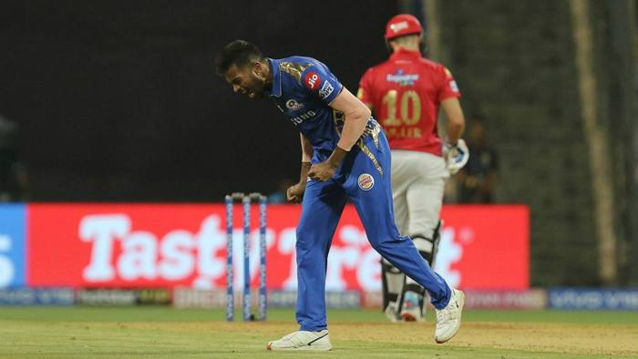 Hardik Pandya got rid of David Miller and Karun Nair in consecutive overs. He first got Miller caught behind in the 15th over before returning to send back Nair in the 17th. Sam Curran was dismissed by Bumrah in the 18th over as KXIP were reduced to 151/3. (Image: BCCI, iplt20.com)
