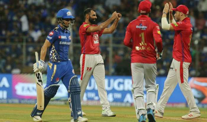 Mumbai's run-chase got off to an ominous start as Mohammed Shami castled debutant Lad in only the 4th over. Lad who earlier got off the mark in the IPL with a six off Ankit Rajpoot returned with just 15 off 13 balls. (Image: BCCI, iplt20.com)
