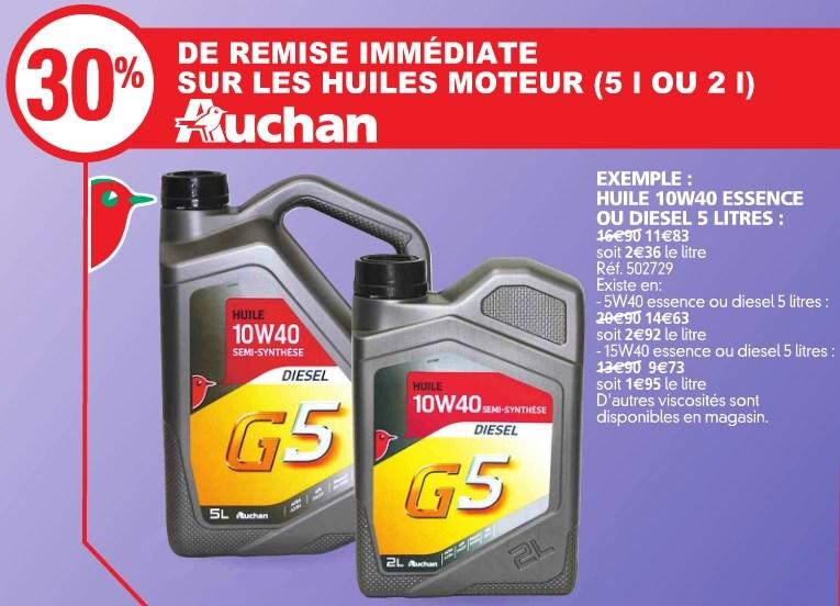 30 De Reduction Sur Les Huiles Moteur Auchan Ex 5w40 Essence Ou Diesel 5l Dealabs Com