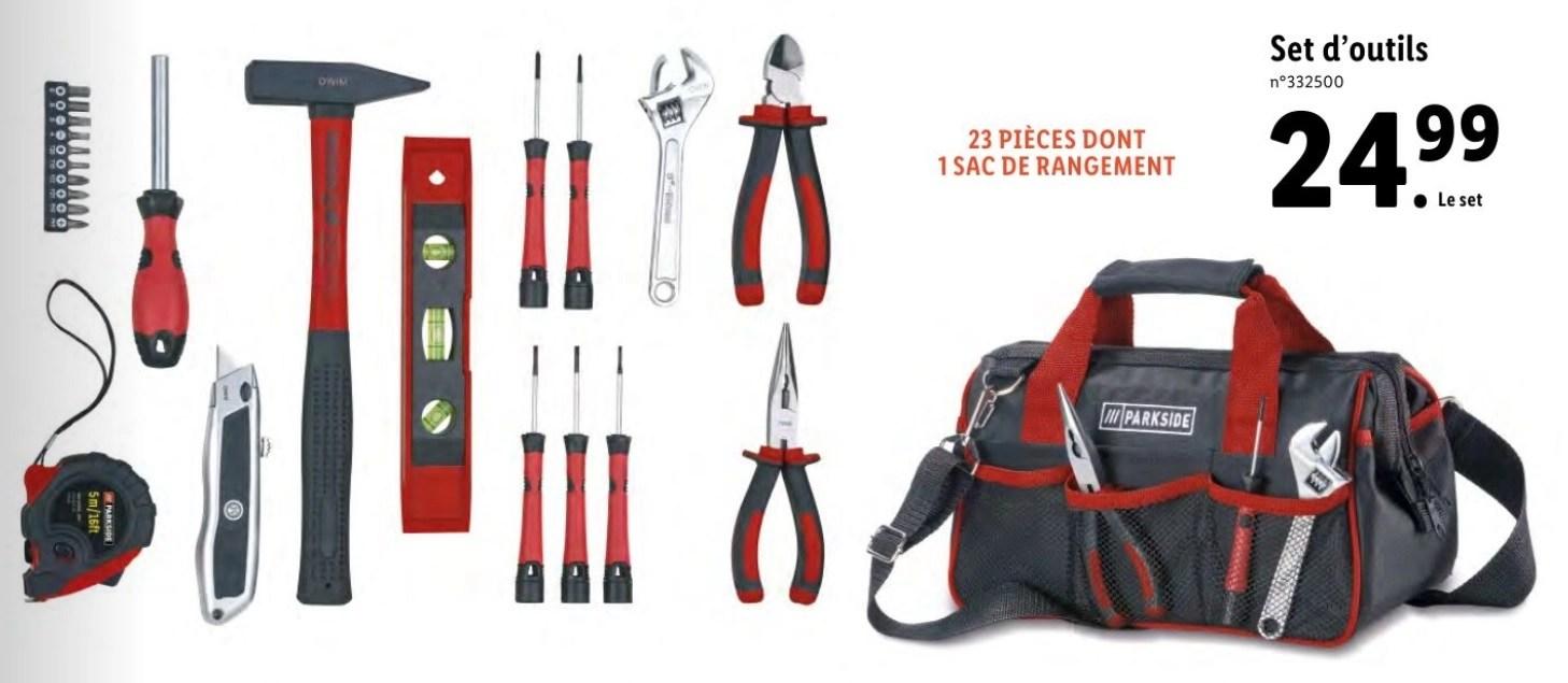 set de 23 outils sac de rangement