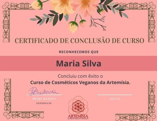 Certificado Cosméticos Naturais e Artesanais Artemísia