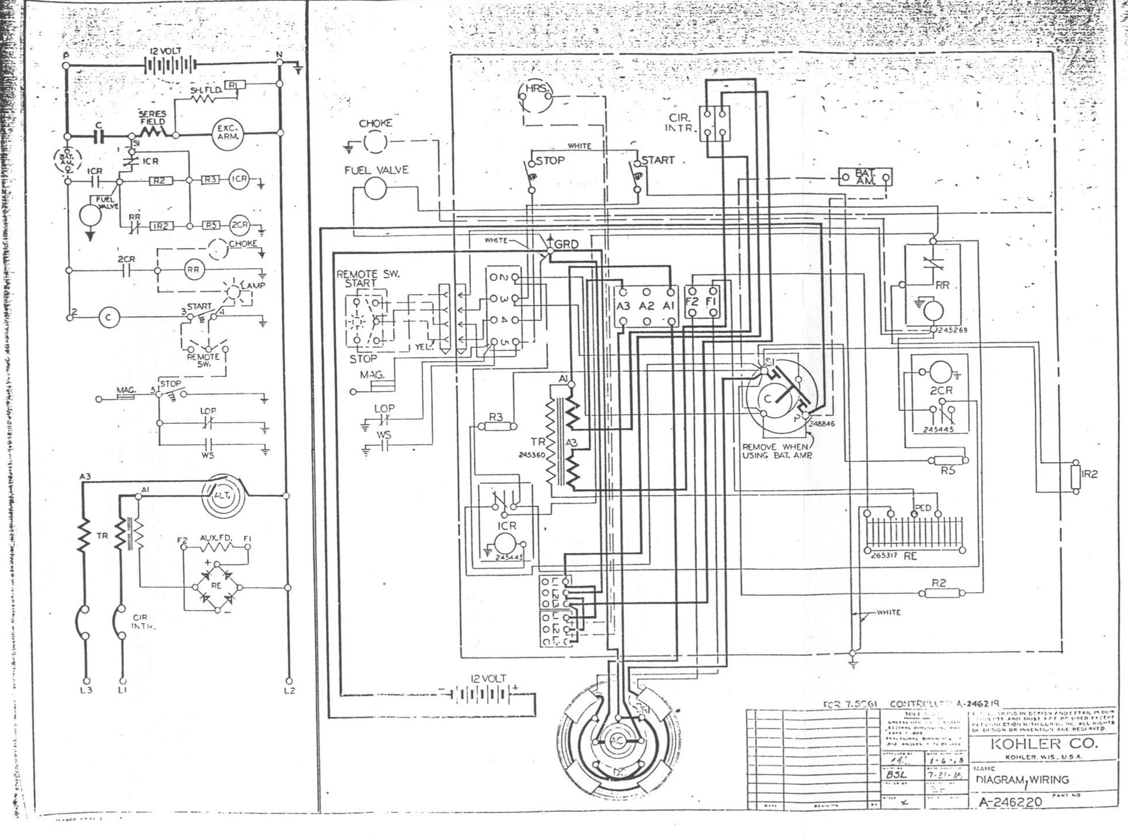 Ow Kohler Generator Wiring Diagram Free Diagram