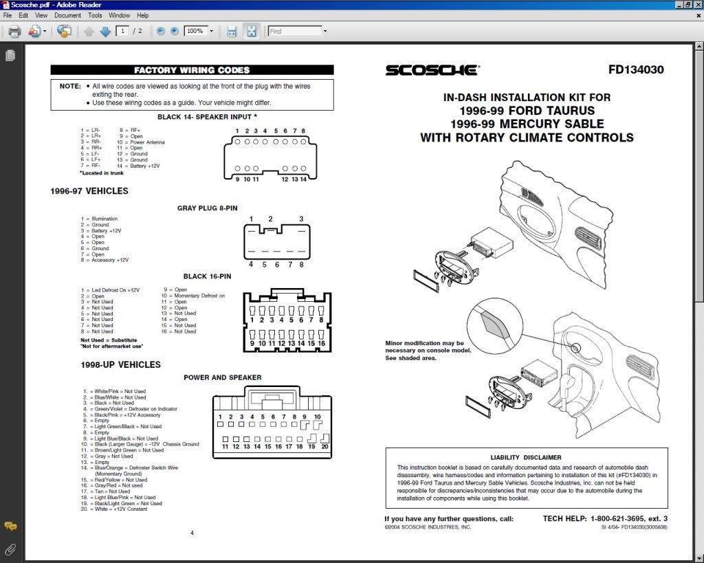 Radio Wiring Diagram Ford Taurus