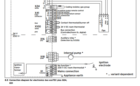 vk7001 wiring a thermostat to a vaillant boiler schematic