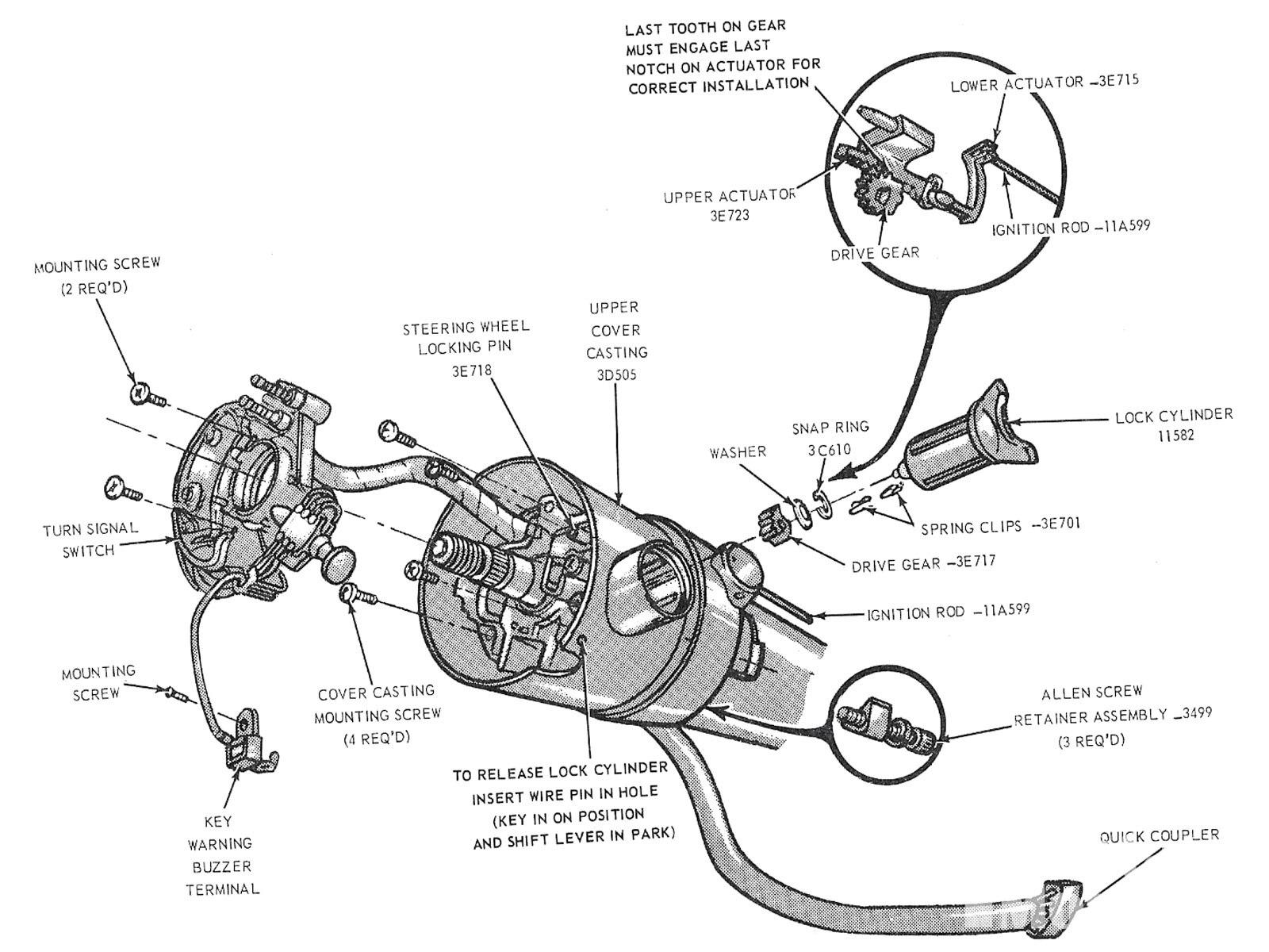 Wm Ford Mustang Tilt Steering Wheel Horn