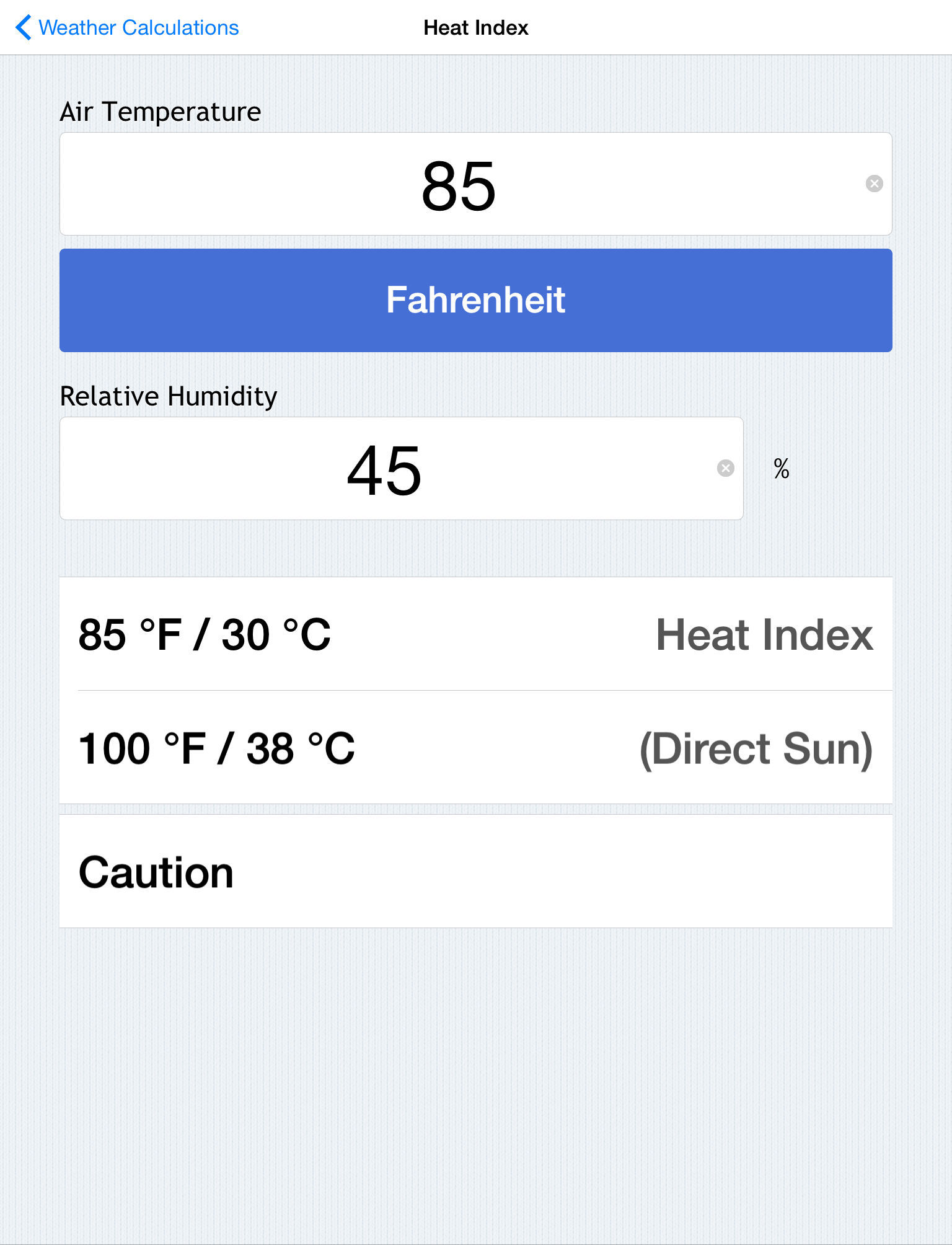 Celsius Relative Humidity Calculator