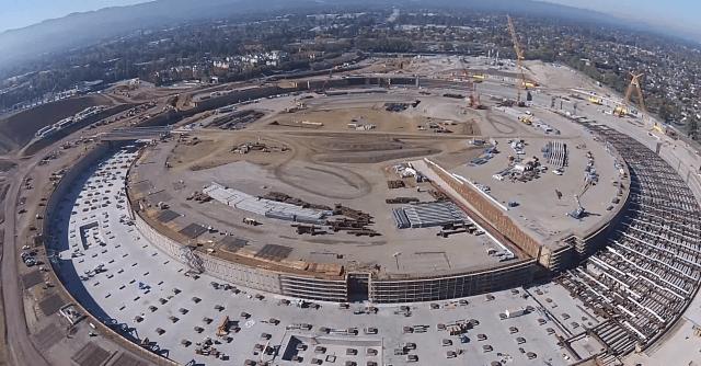 apple campus 2 spaceship drone footage