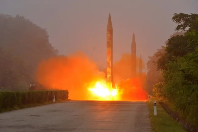 Ballistic rocket is seen launching during a drill by the Hwasong artillery units of the KPA Strategic Force, July 2016. KCNA/via REUTERS