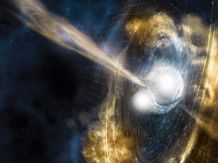 merging neutron stars illustration gold platinum jets torus fermilab, neutron star collision, Gravitational waves, Astronomers, Gold, Platinum, Silver, Universe, LIGo,