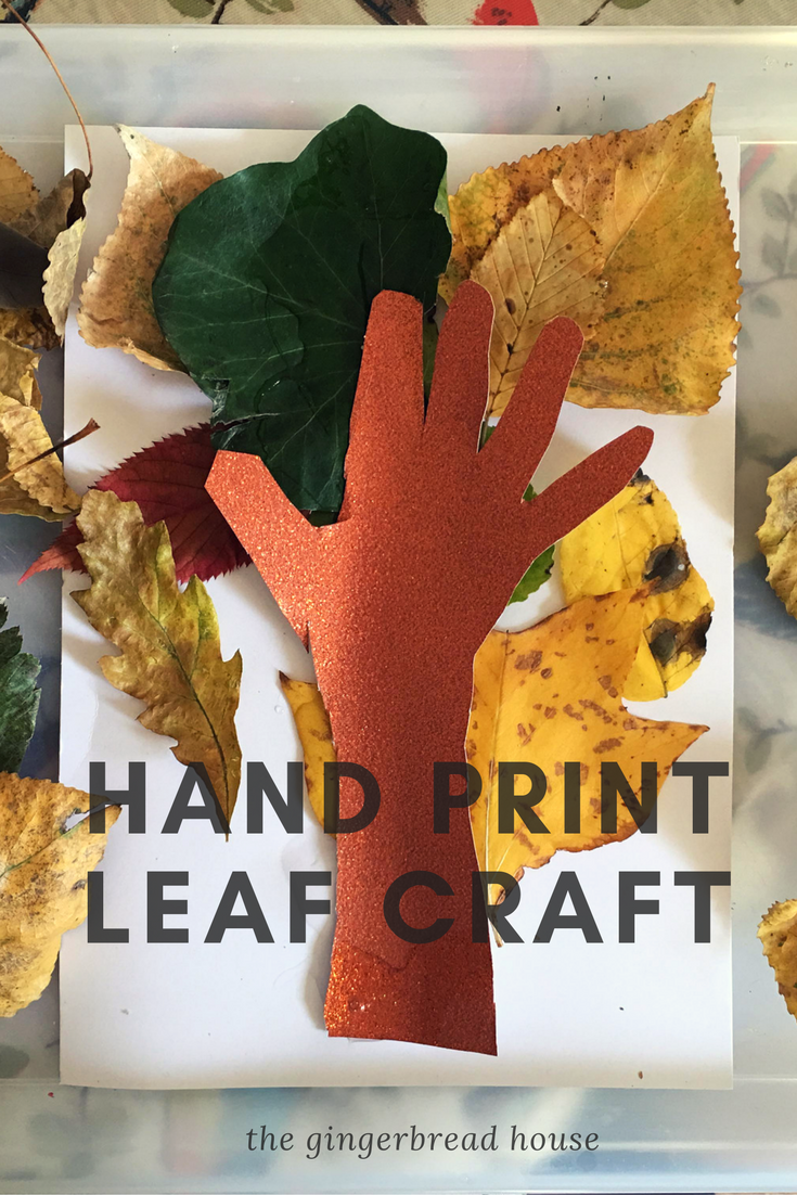 Hand print leaf craft for kids