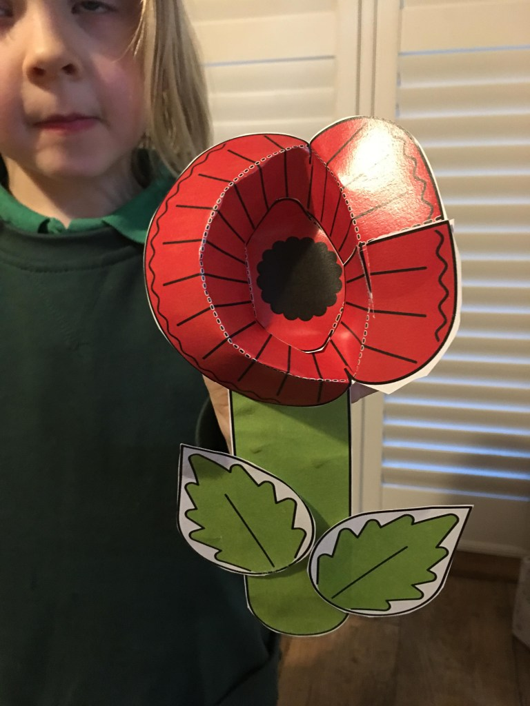 Remembrance Day Paper Poppy craft for children