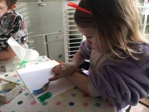 Painted Spring flower craft for kids