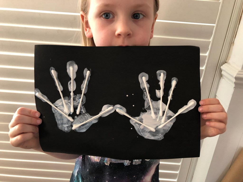 Halloween x-ray hand print craft
