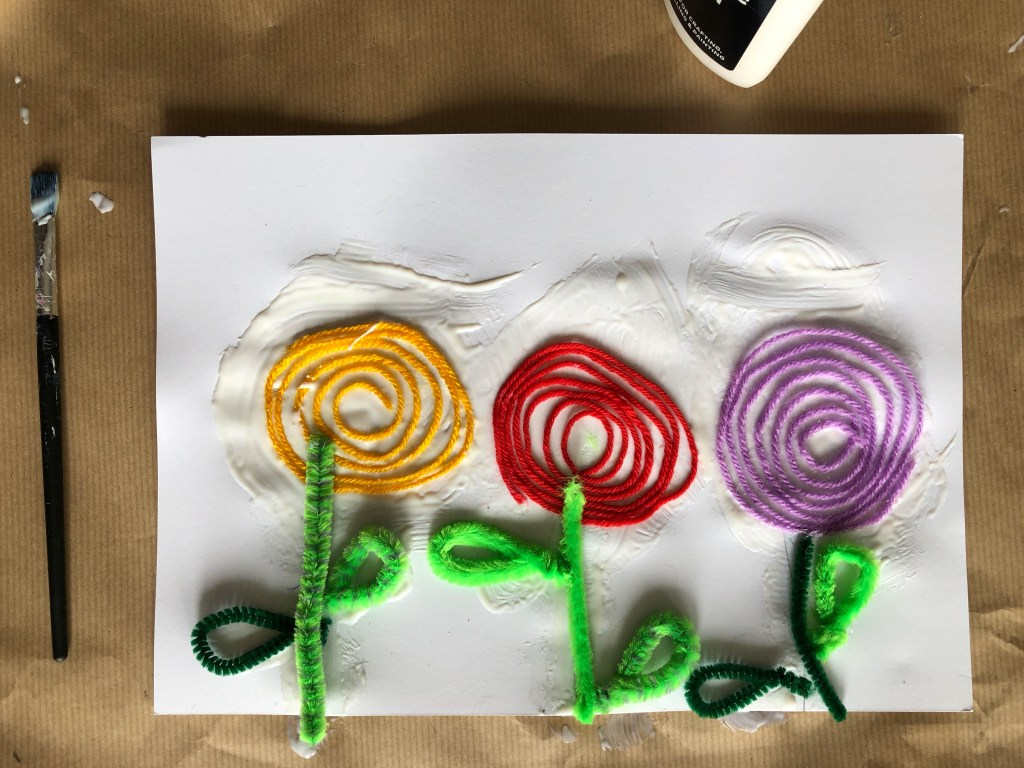 wool rose craft for kids