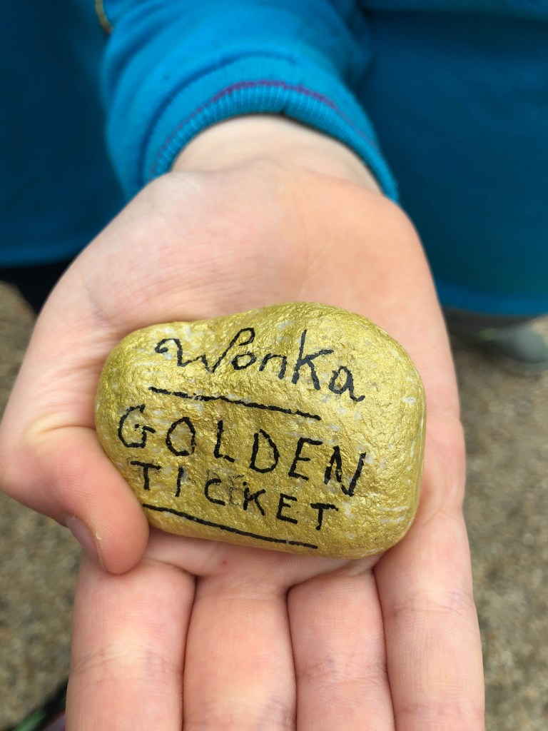 Roald Dahl Charlie and the Chocolate Factory Gold Ticket painted rock