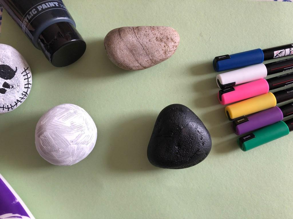 preparing our painted rocks