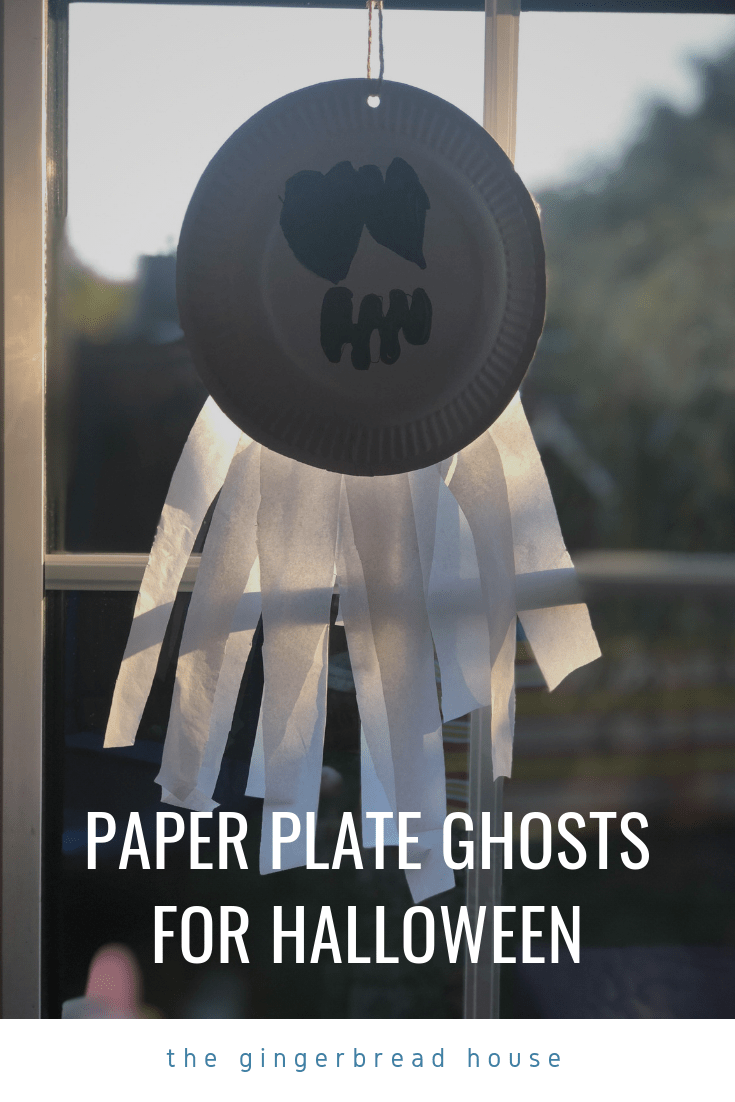 Paper plate ghosts for Halloween from the gingerbread house blog