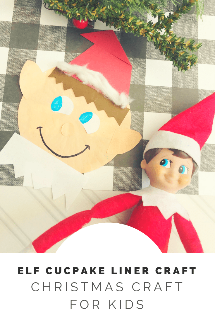 Elf cupcake liner craft for kids to make from the gingerbread house blog