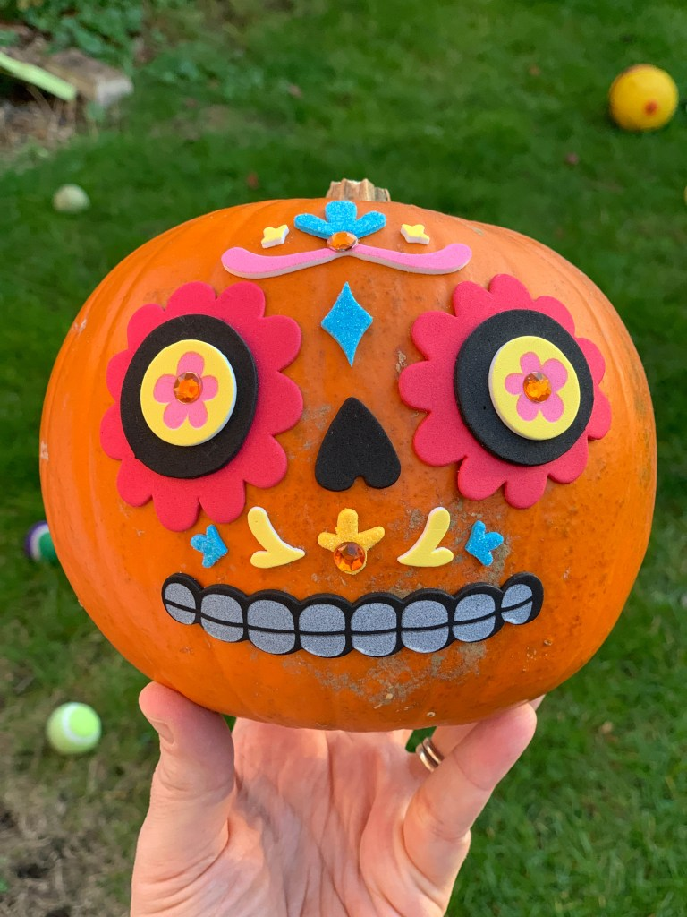 Day of the Dead pumpkin with Hobbycraft stickers