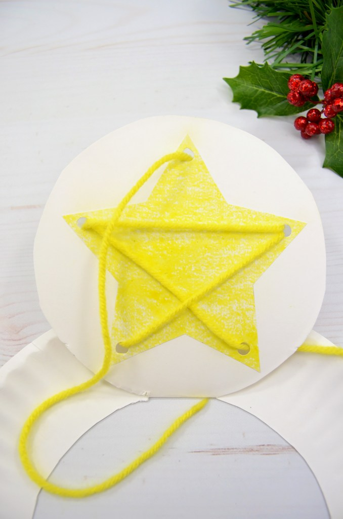 Nativity lacing paper plate craft
