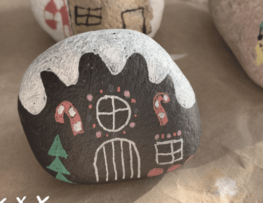 Gingerbread house painted rocks tutorial