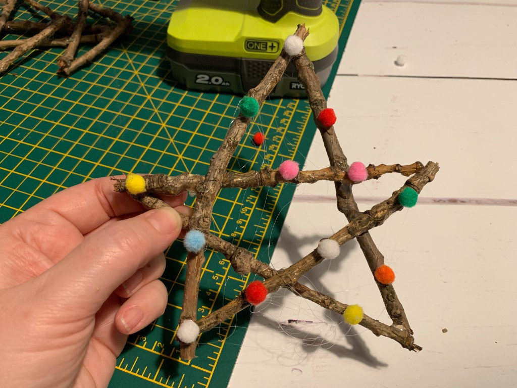 handmade twig star decoration
