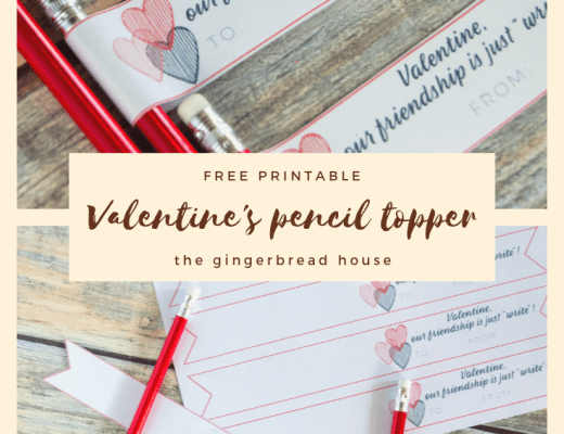 {Free printable} Valentine's pencil topper from the gingerbread house