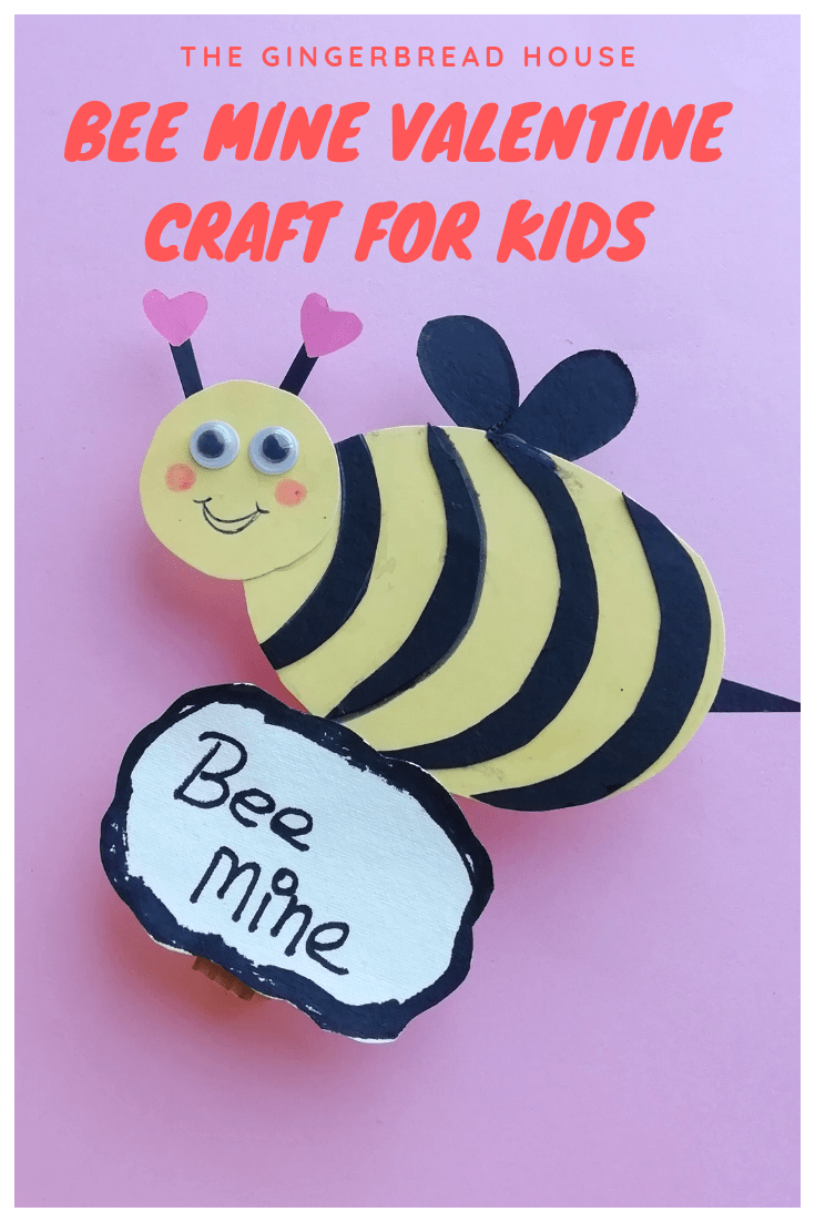 Honey Bee Valentine craft for kids to make from the gingerbread house