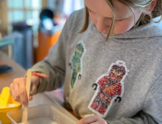 girl making plaster