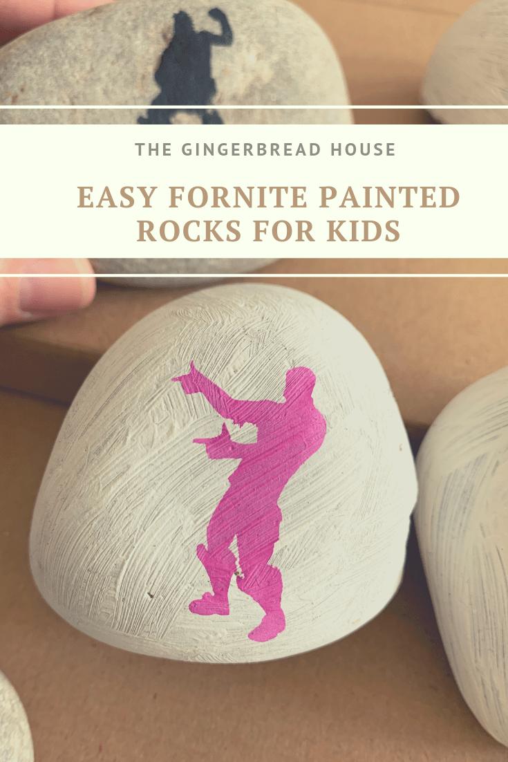 Easy Fortnite painted rocks for kids to make