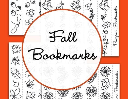 {Free printable} Autumn bookmarks to colour
