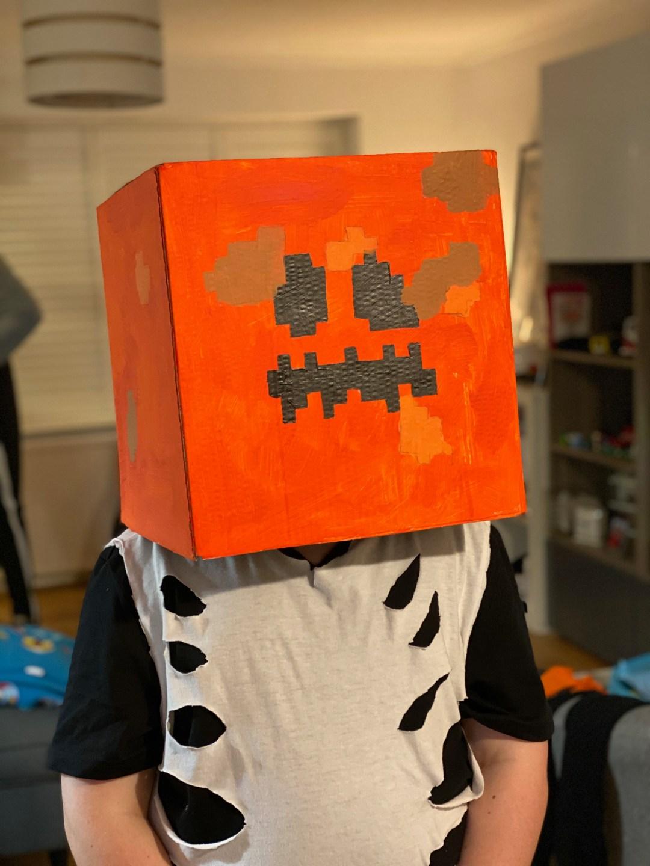 Minecraft inspired Jack O'Lantern head